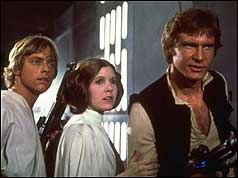 Luke Skywalker (Mark Hamill), Princess Leia (Carrie Fisher), and Han Solo (Harrison Ford) onboard the Death Star in the film Star Wars