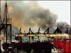 Photograph of Southend Pier on fire