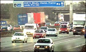 Busy traffic on the M6