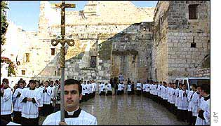 Trainee priests in procession in Bethlehem