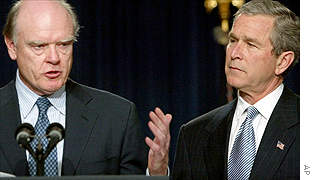 Treasury Secretary nominee John Snow (left) and President George W Bush