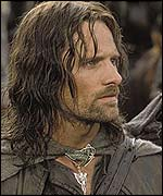 Actor Viggo Mortensen as Aragorn in The Two Towers