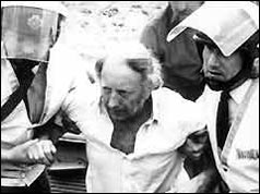 NUM President Arthur Scargill is arrested on a picket line