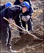 Police digging in mounds of earth