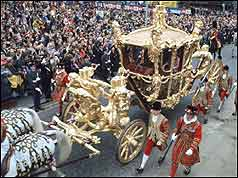 The Queen and Duke of Edniburgh in the state coach