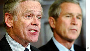 Nominee for SEC chairman William Donaldson (left) and US President George W Bush