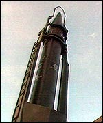Scud missile in its launcher