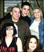 Formerly Hear'Say: (bottom L to R) Kym Marsh, Danny Foster, Noel Sullivan, Suzanne Shaw and Myleene Klass