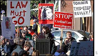 A demonstration in Boston calling for Cardinal Bernard Law to resign