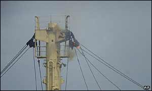 Cabling on the So San's mast on fire