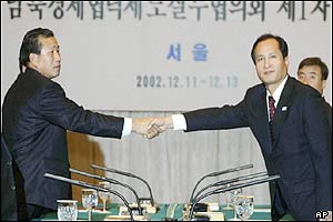 North Korean chief delegate (left) and his South Korean counterpart shake hands in Seoul