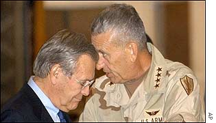Donald Rumsfeld and General Tommy Franks