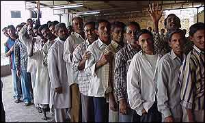 Voters outside a polling booth