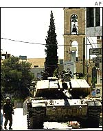 Israeli tank in the village of Beit Sahour near Bethlehem