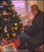 Bob Lloyd with Rachael's Christmas presents