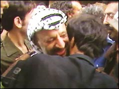 Yasser Arafat says goodbye to a well-wisher