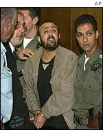 Marwan Barghouti (centre) shouts back at a heckler outside a Tel Aviv court