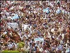 Crowds celebrating in Buenos Aires
