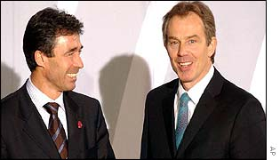 Danish Prime Minister Anders Fogh Rasmussen and UK Prime Minister Tony Blair