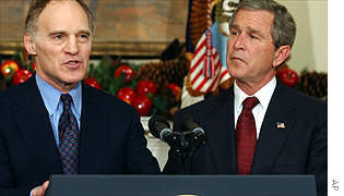 Former Goldman Sachs co-chairman Stephen Friedman and US President George W Bush