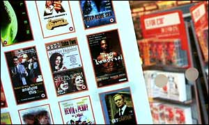 DVD covers in a shop window