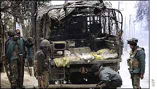Indian military vehicle damaged by cycle-bomb in Srinagar, Kashmir