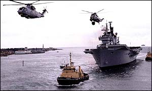 The Ark Royal, with helicopters