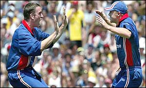 England bowlers James Kirtley (left) and Gareth Batty celebrate the dismissal of Matthew Hayden