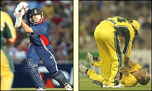 Nick Knight drives for four (left) Shane Warne falls awkwardly on his shoulder