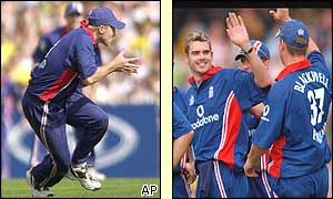 Gareth Batty catches Damien Martyn (left) and James Anderson celebrates the wicket of Adam Gilchrist on his debut