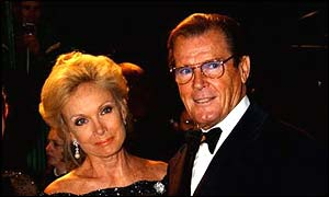Roger Moore with wife Christina Tholstrup