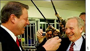 Al Gore (left) and Joe Lieberman (right) during 2000 campaign