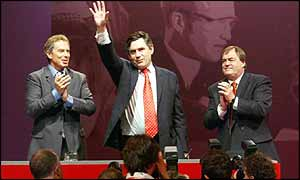 Brown, Blair and Prescott at this year's Labour Party Conference in Blackpool