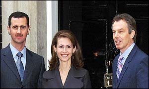 BBC image of Syrian President, Bashir al-Assad, his wife and Tony Blair in front of Downing Street, London