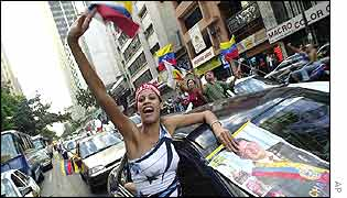 President Chavez's supporters on the streets Caracas