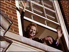 Margaret Thatcher celebrates at Downing Street