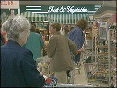 Photo of shoppers at a Tesco supermarket