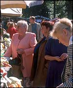 Russian women at a street market