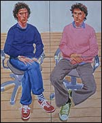 Hockney's portrait of film-makers Tom and Charles Guard