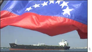 Venezuelan flag and oil tanker