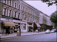 Photograph of the Hammersmith Grove shops where the weapons were found