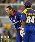 Harmison celebrates the wicket of Sangakkara