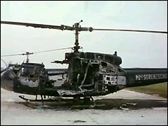 The remains of the helicopter