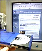 Napster website with CD in foreground