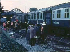 Photograph of the fire-damaged Penzance to Paddington sleeper