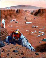 Graphic of what humans landing on Mars might look like, Nasa