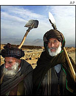 Afghan farmers returning home from fields near Kabul