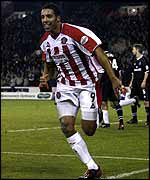 Carl Asaba of Sheffield United celebrates scoring