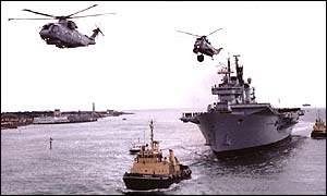 HMS Ark Royal sailing in to Portsmouth