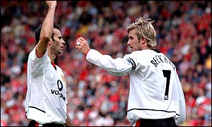 Wales' Ryan Giggs (left) and England's David Beckham